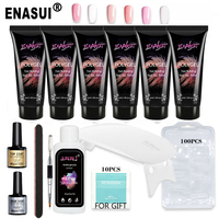 Professional Acrylic Nail Kit Coffin Extension with Everything Including UV LED Lamp and Fast Building Gel 30ml