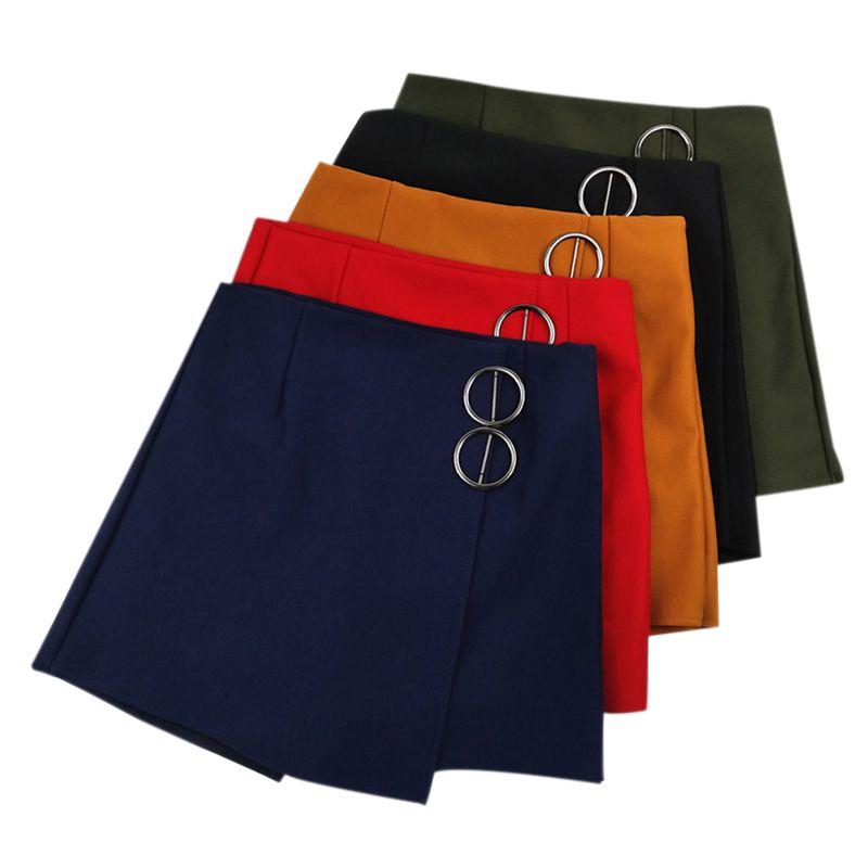 2020 Women Sexy Stretchy High Waist Anti-light Irregular Pleated Short College Skirt Solid Color A-line Miniskirt