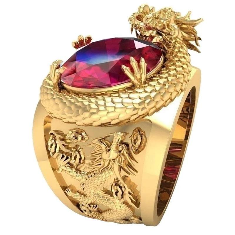 Luxury gold dragon men ring aliexpress youtube golden dragon