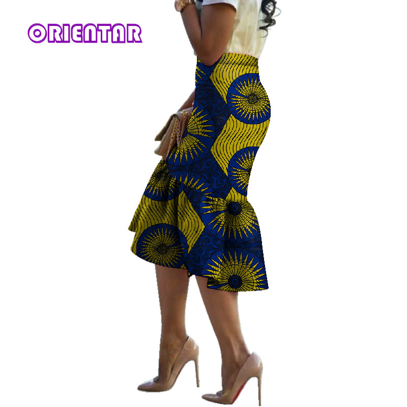 2019 Summer African Print Skirts For Women Bazin Riche Skirt Dashiki Cotton Traditional African Style Clothes Women Skirt WY3065