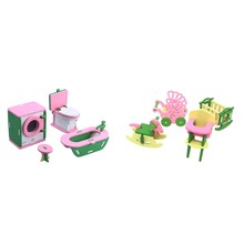 2 Set Baby Wooden Dollhouse Furniture Dolls House Miniature Child Play Toys Gifts - 5 & 6(China)