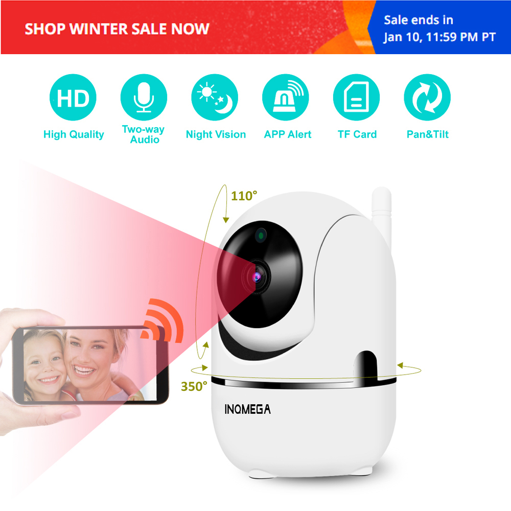 INQMEGA HD Cloud IP Camera Home Security Surveillance Camera Auto Tracking Network WiFi Camera Wireless CCTV Camera YCC365