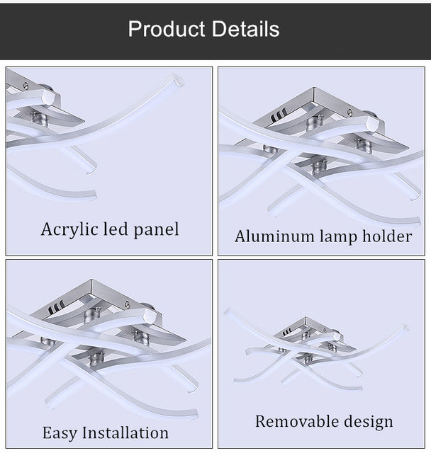 [DBF]Modern Forked Shaped Round/Square Ceiling Light 18W/24W LED Panel Light Warm/Cold White Light for Aisle Living room Decor 5