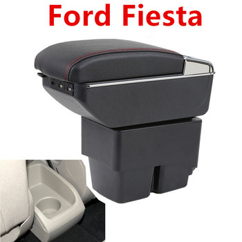 For Ford Fiesta 2009-2017 Center Centre Console Storage Box Leather Dual Layer Armrest Arm Rest 2011 2012 2013 2014 2015 2016