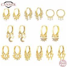 CANNER – boucles d'oreilles rondes en argent Sterling 925 pour femmes, bijoux de luxe en Zircon, à la mode