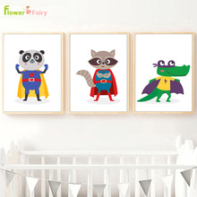 Cartoon Animals Superhero Wall Art Canvas Painting Frog Baby Room Nordic Poster Kids Gift Wall Pictures For Living Room Unframed цена