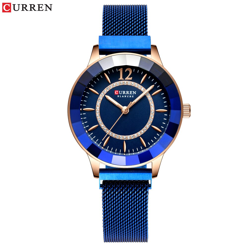 CURREN Rhinestone Fashion Quartz Mesh Steel Watch for CausalWomen Blue Ladies Watch bayan kol saati Classy Luxury Clock Watch