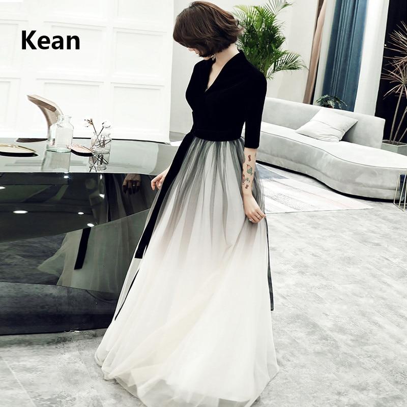 Black Velour Evening Dress V-neck Gradient Color Formal Dress Islamic Dubai Kaftan Saudi Arabic Evening Gown Prom Dress