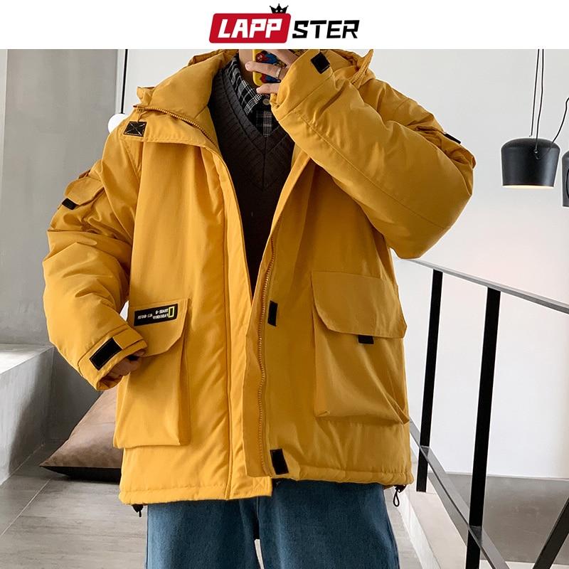LAPPSTER Men Streetwear Winter Jacket 2020 Black Mens Harajuku Overcoat Cargo Jackets Parka Korean Casual Autumn Coats Plus Size