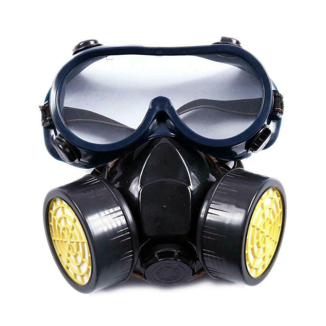 1 Set Respirator Gas Mask Survival Safety Respiratory Emergency Filter With Goggles For Welding Spray Protective Suppies