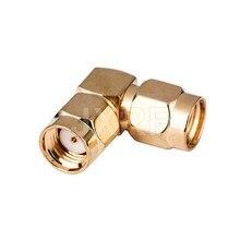 Jxrf coaxial adaptador RP-SMA macho plug para RP-SMA macho plug ângulo direito dourado conector