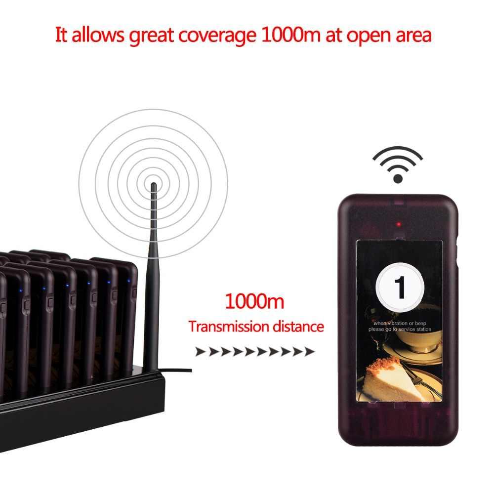 Retekess T112 Restoran Pager Wireless Paging Sistem Antrian 20 Coaster Pager Peralatan Restoran untuk Restoran Klinik