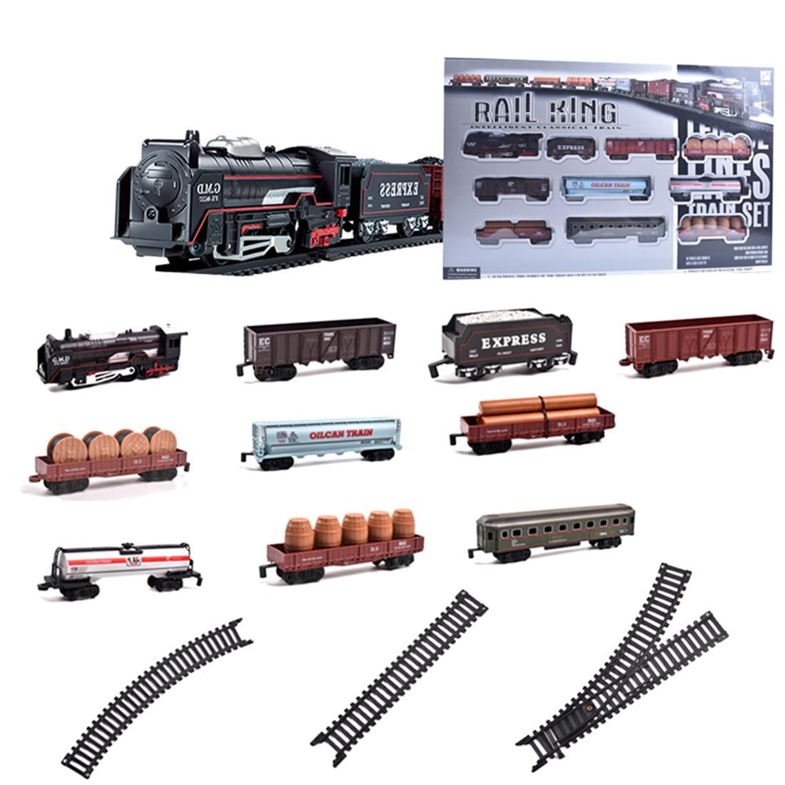 Children Electric Railway Mini Train Playset Classical Small Train Toys Model Building Kits