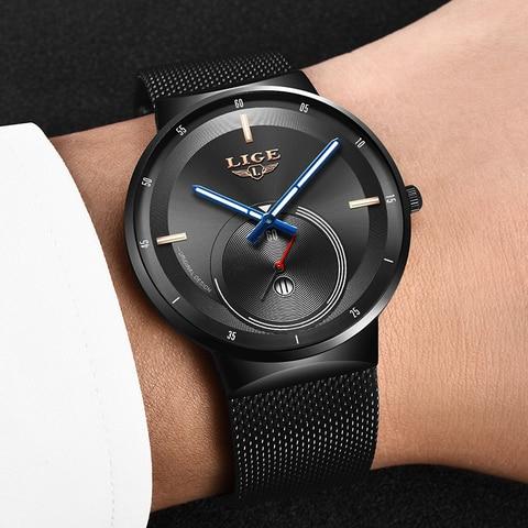 LIGE Mens Watches 2019 New Fashion Casual Black Quartz Watch Men Unique Dial Sport Waterproof Male Clock Relogio Masculino+Box Lahore