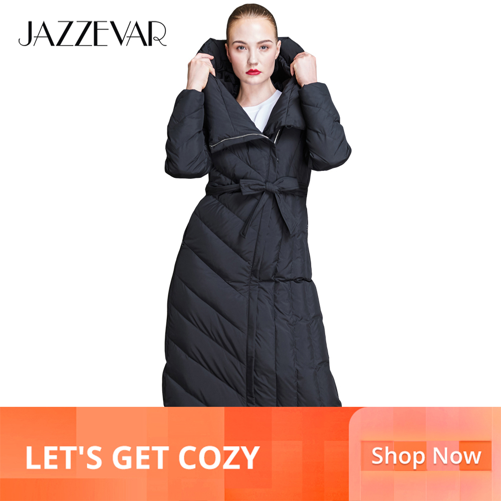 JAZZEVAR 2019 New winter fashion women long hooded   down   jacket casual worm   down     coat   outerwear with belt good quality z18002