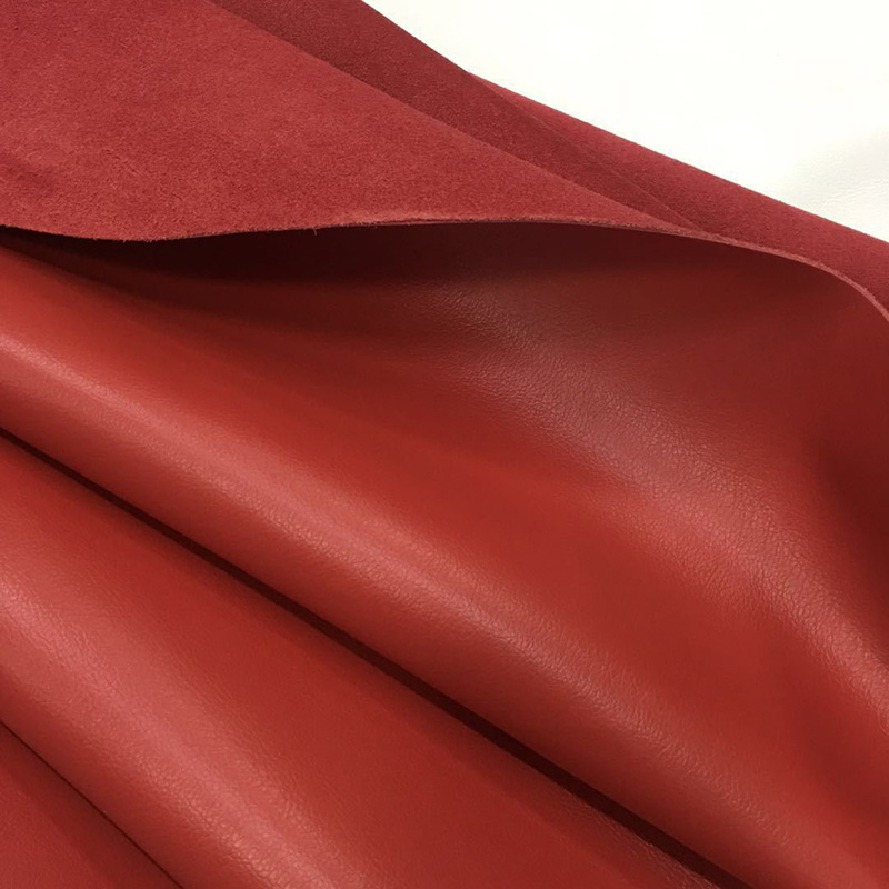 Cowskin leather Poly urethane Grain surfa 1.4mm Brick red strong tensile streng Yak leather microfiber wrinkled Free shipping image