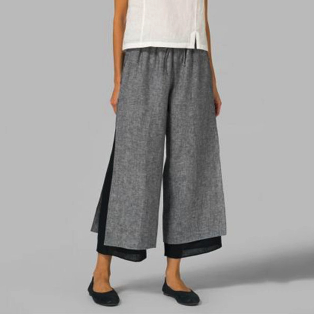 Retro   Wide     Leg     Pants   Women Ankle Length   Pant   Autumn Elastic Waist Trousers Daily Casual Capris Loose Pregnant Bottoms Pleated