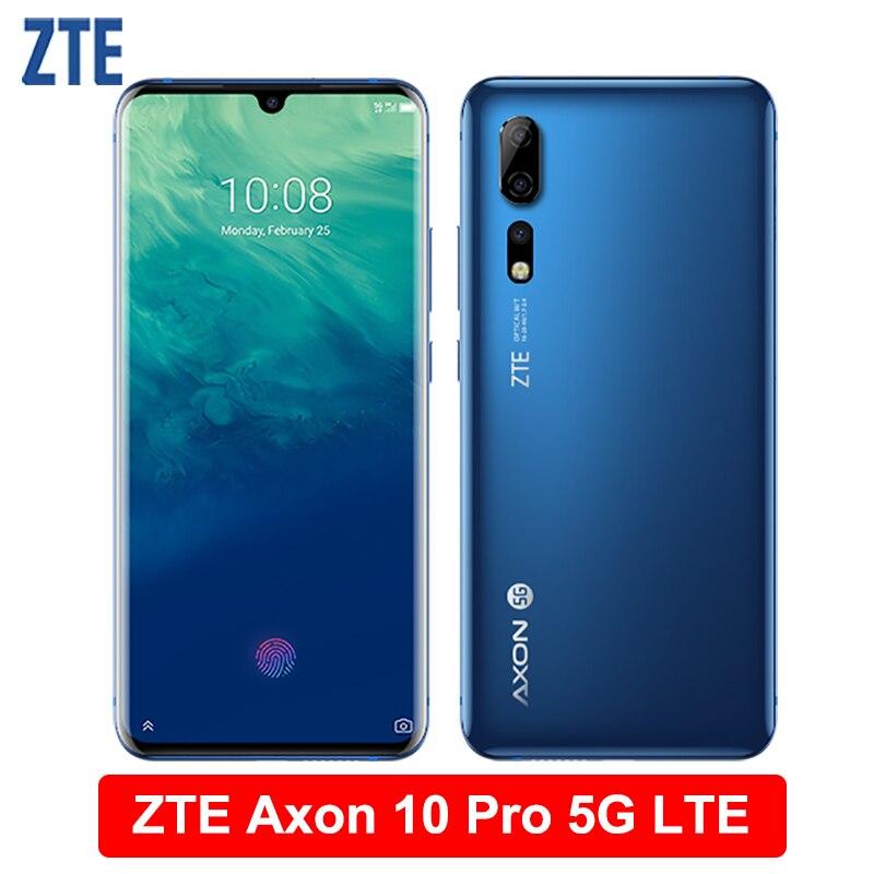 """ZTE Axon 10 Pro 5G LTE téléphone portable 6.47 """"Flexible incurvé écran goutte d'eau 6G RAM 128G ROM Snapdragon 855 octa-core Smartphone"""