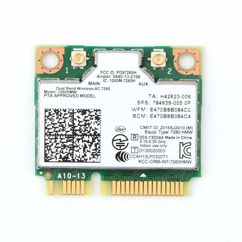 Dwuzakresowy wireless-ac 7260HMW 7260ac PCI-E 802.11ac WiFi BT 4.0 Mini karta Wlan 2.4G/5Ghz 2x2 WiFi + antena adaptera Bluetooth 4.0