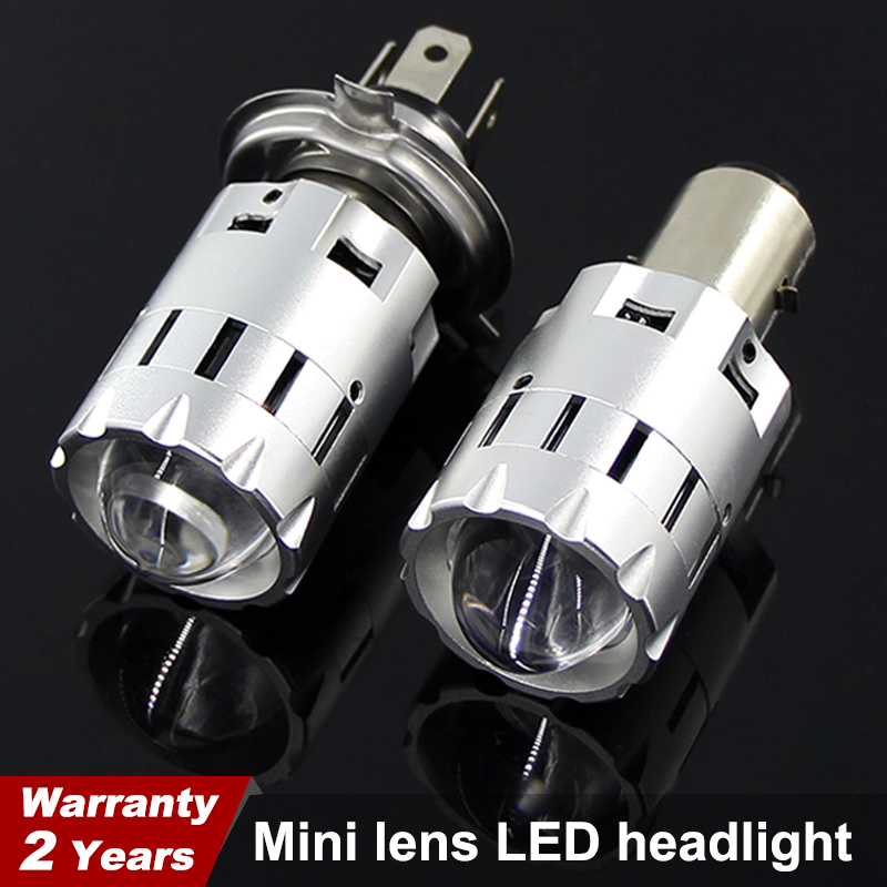 Motorcycle Led H4 H6 BA20D Headlight Bulbs Mini Bi-LED Headlight Lens Moto 4800LM Hi Lo Lamp Scooter ATV Accessories Fog Lights