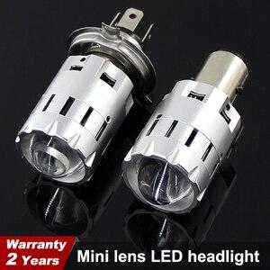 Image 1 - Motorcycle Led H4 H6 BA20D Headlight Bulbs Mini Bi LED Headlight Lens Moto 4800LM Hi Lo Lamp Scooter ATV Accessories Fog Lights