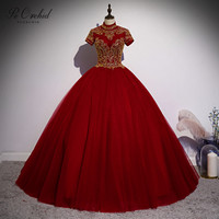 PEORCHID Burgundy Ball Gown Quinceanera Dresses With Sleeves 2020 High Neck Beaded Princesa Sweet Sixteen Dress Debut Gowns