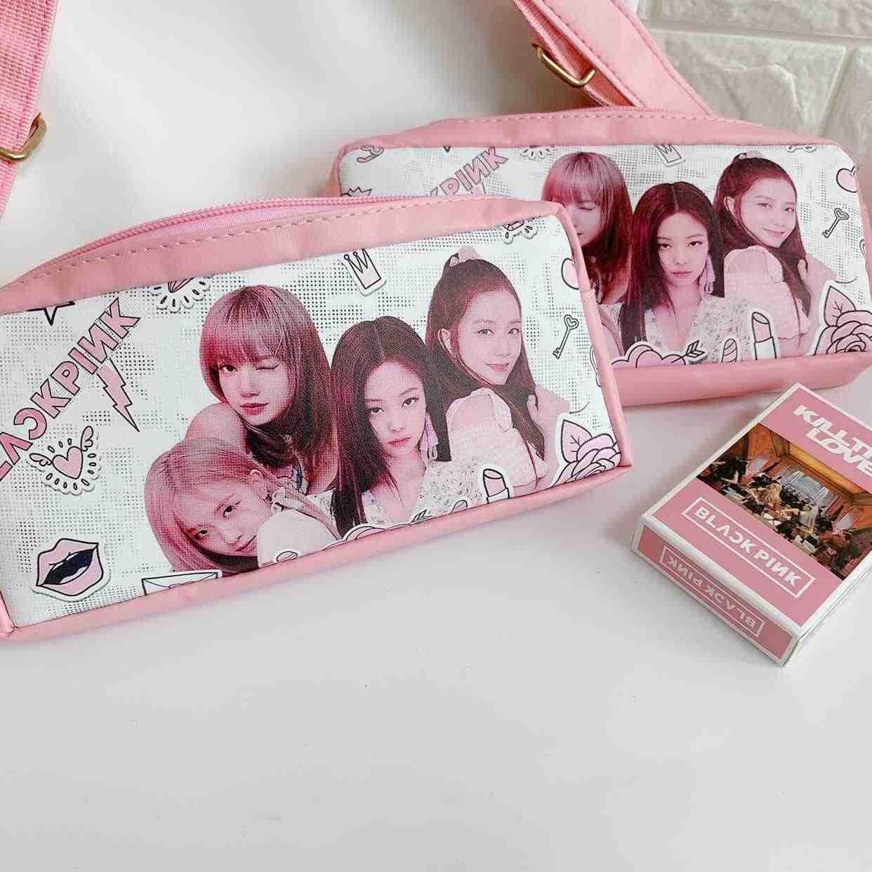 KPOP 크리 에이 티브 Blackpink 지갑 한국어 Pu 펜 가방 편지지 대용량 학생 편지지 연필 상자 가방 도매
