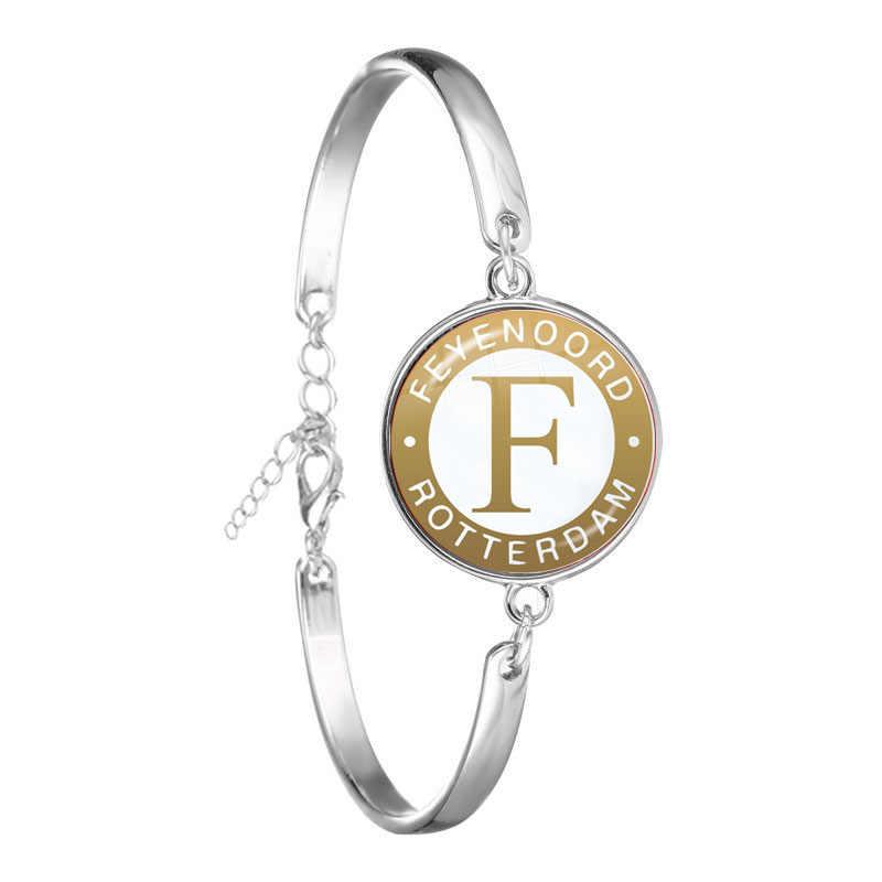 Pulsera Love Feyenoord de róterano con cabujón de cristal de 18mm, logotipo de ligas de fútbol, brazalete de cadena de Club de fútbol para regalo de fanáticos