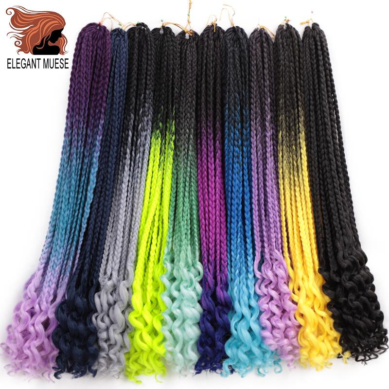ELEGANT MUSES 24Inch Goddess Box Braids Crochet Braid Hair Extensions 22 Roots Ombre Synthetic Box Looped With Curly End