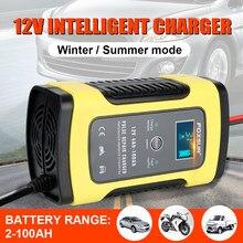 12v 6a inteligente carregador de bateria da motocicleta carro reparação pulso carregador com display lcd monitoramento temperatura para carro caminhão barco suv