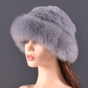 Image 3 - Vrouwen Echt bont Hoed konijnenbont en vossenbont Bescherming Oor Pluizige mutsen mode Gebreide cap warme winter bont hoeden voor vrouwen Ski