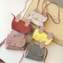 Cute Cat Shoulder Bag PU Leather Girls Coin Purse Pack Kids Cartoon One Shoulder Pouch Korean Change Wallet Children Money Bag