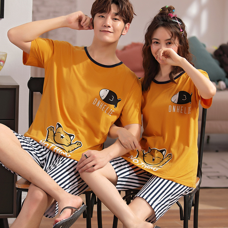 Net Red Couple 2020 Summer Pajamas Men's Cotton Short-sleeved Casual Models Cartoon Cat Lazy Male Home Service Summer