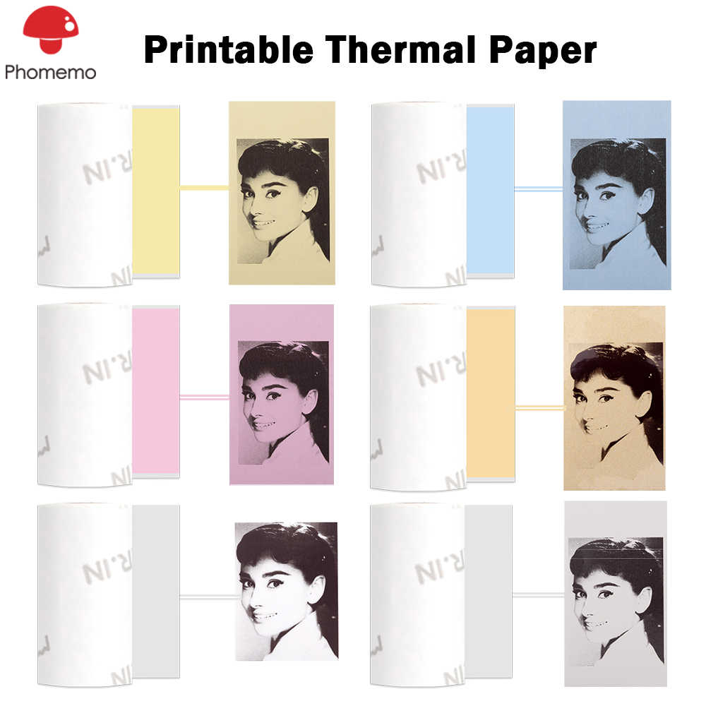 Phomemo Thermal Stiker Kertas Foto untuk Phomemo M02/M02S/M02Pro Printer Foto Self-Adhesive Label Kertas Stiker untuk Printer