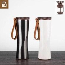 Youpin 키스 물고기 슬림 스마트 컵 430ml OLED 온도 스크린 Protable 스테인레스 스틸 컵 머그잔 d5와 커피 브루어