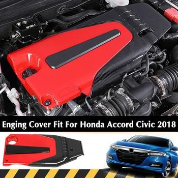 DWCX Red Carbon Fiber Style Car Engine Cover Bonnet Hood Fit for Honda Civic Accord 1.5L 2018