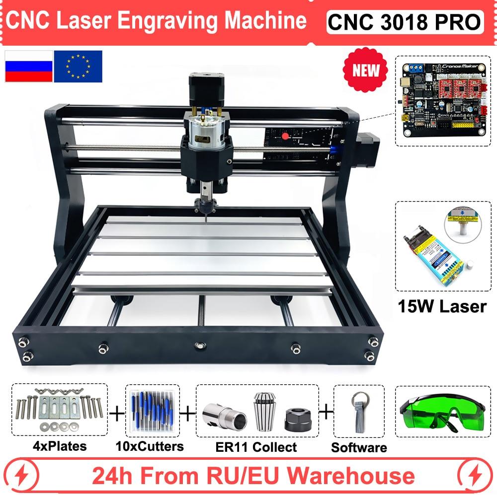 Mini CNC 3018 PRO 15W ploter laserowy grawer GRBL oprogramowanie do kamienia ze stali nierdzewnej