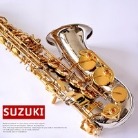 2019 New Japan Suzuki Eb Saxophone Alto E flat Nickel Plated Saxophone Professional Instruments With Case Gloves Reeds Mouthpiec
