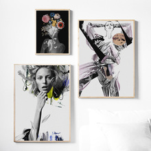 Wall Art Canvas Painting Flower Black White Abstract Girl Nordic Posters And Prints Pictures For Living Room Bed Decor