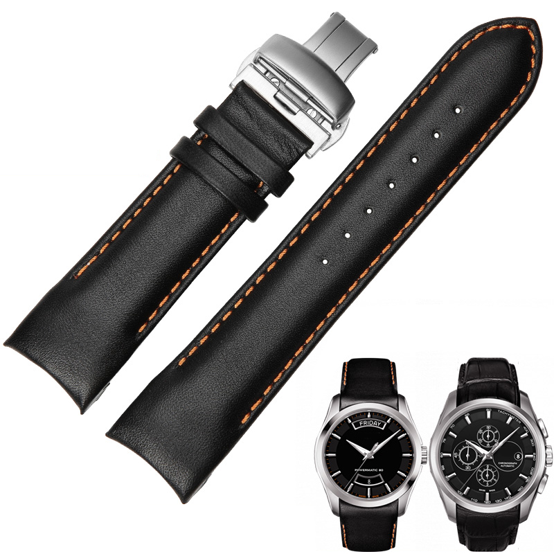 24mm(Buckle 22mm) T035627A/T035614A Butterfly Buckle Orange Stitched Black Smooth Genuine Leather Watchband For T035617 Straps