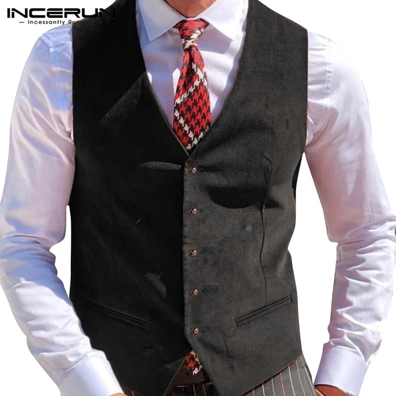 Men Suit Vests Fashion Sleeveless Button Casual Solid Gentleman Business Vests Elegant Formal Waistcoat Tops S-3XL 2020 INCERUN