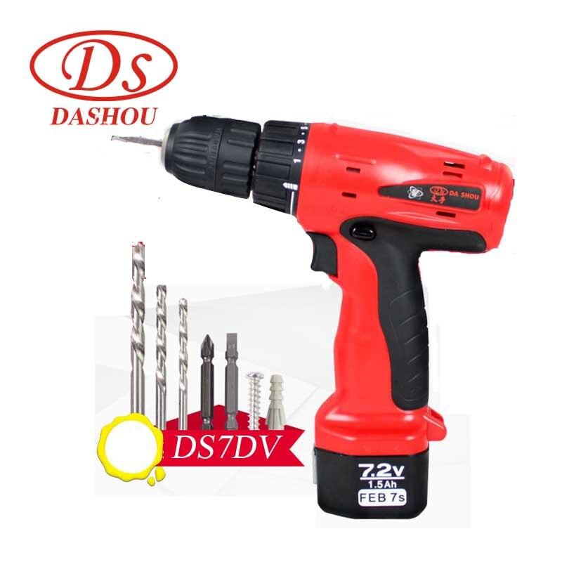 DS DIY электроинструменты 7,2 В литиевая батарея/перезаряжаемая ручная дрель/Беспроводная электрическая отвертка/домашняя Мини дрель DS7DV