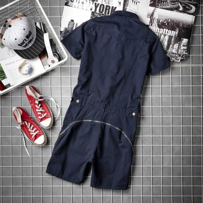 Sommer Herren Kurzarm Overall Overalls Knie Länge Strand Shorts High Street Taschen Hüfte Hop Zip Hüfte Bib Cargo-Harem shorts