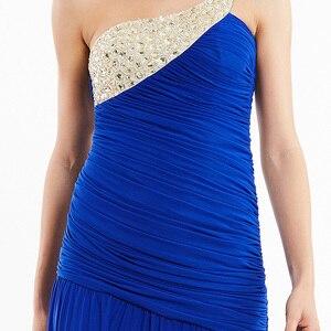 Image 5 - Tanpell uzun gece elbisesi şampanya kolsuz pleats dantelli boncuk kat uzunluk elbiseler kadın balo bir omuz gece elbisesi