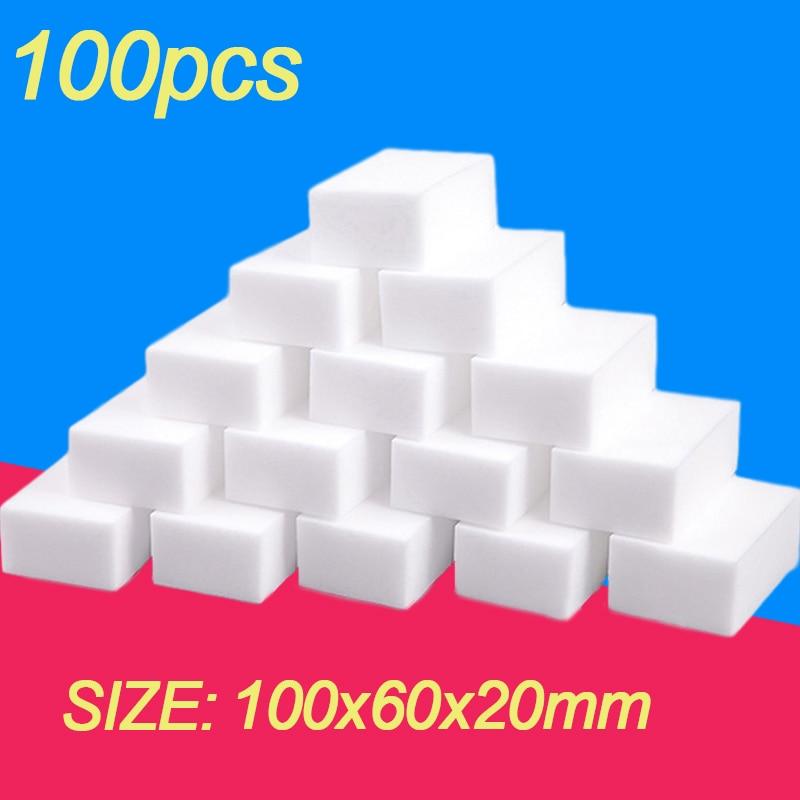 100 шт., меламиновая губка, волшебная губка, ластик для меламиновой губки, Чистящая губка, кухонные аксессуары для ванной комнаты, 100*60*20 мм