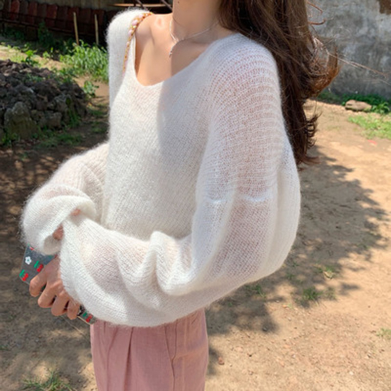 Women Solid Color Mohair Knitted Sweater V Neck Sweet Sweater Autumn Winter Pullover Loose Long-sleeve Sweaters