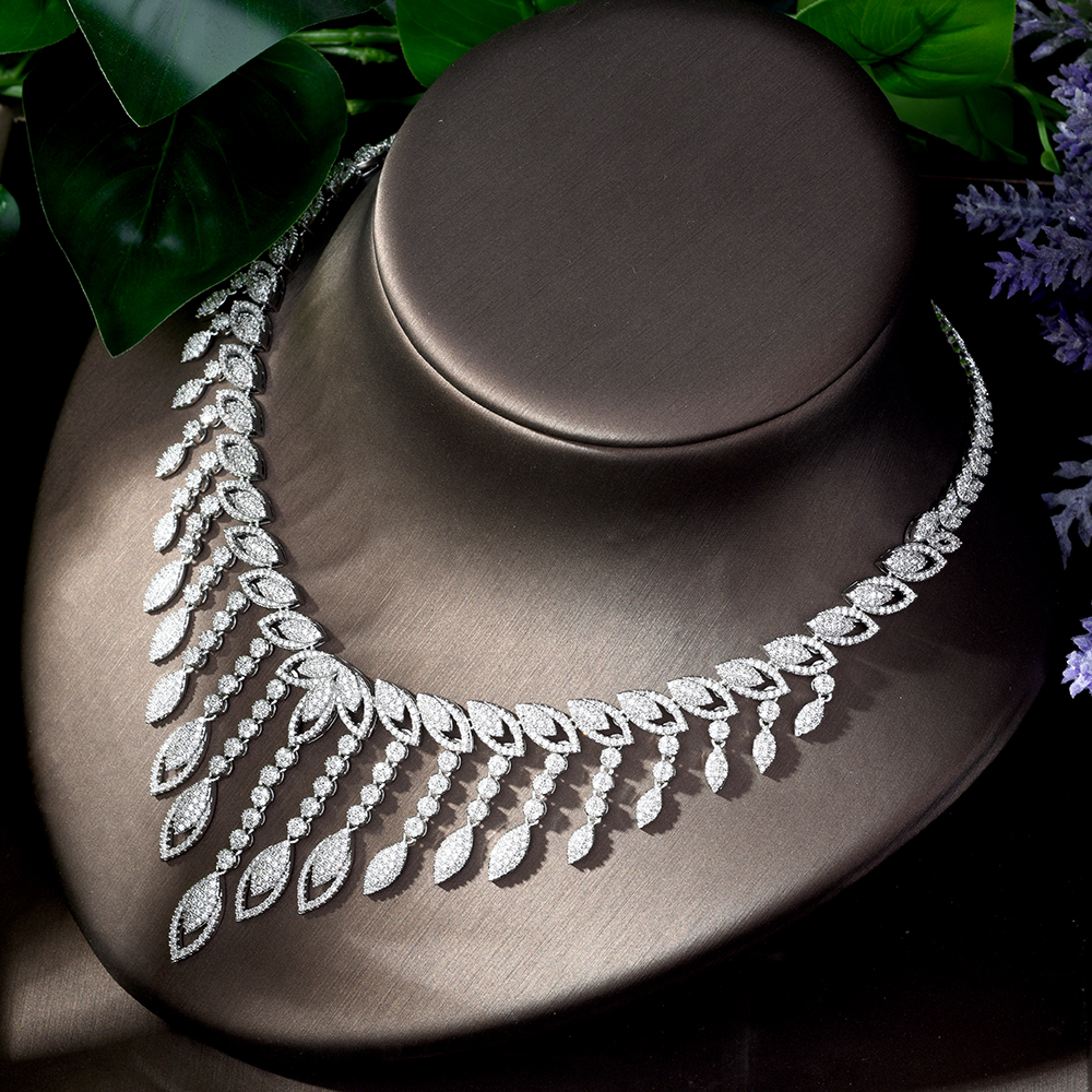 Image 5 - HIBRIDE Luxury Style Growing Leaves With AAA Cubic Zircon Elegant  Jewellry Sets Earring Necklace for Women Attending PartyN 1218Jewelry  Sets