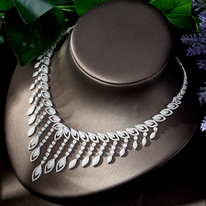 Image 5 - HIBRIDE Luxury Style Growing Leaves With AAA Cubic Zircon Elegant Jewellry Sets Earring Necklace for Women Attending PartyN 1218