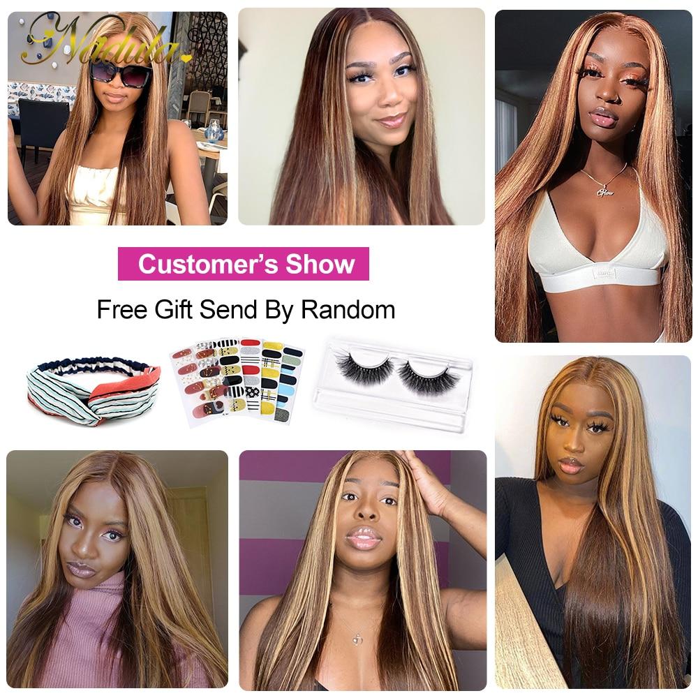 Nadula Hair Honey Blonde Brown Wig 13x4 HighLight Straight Hair Wig  100%  Wig 150%Density Piano Color 6