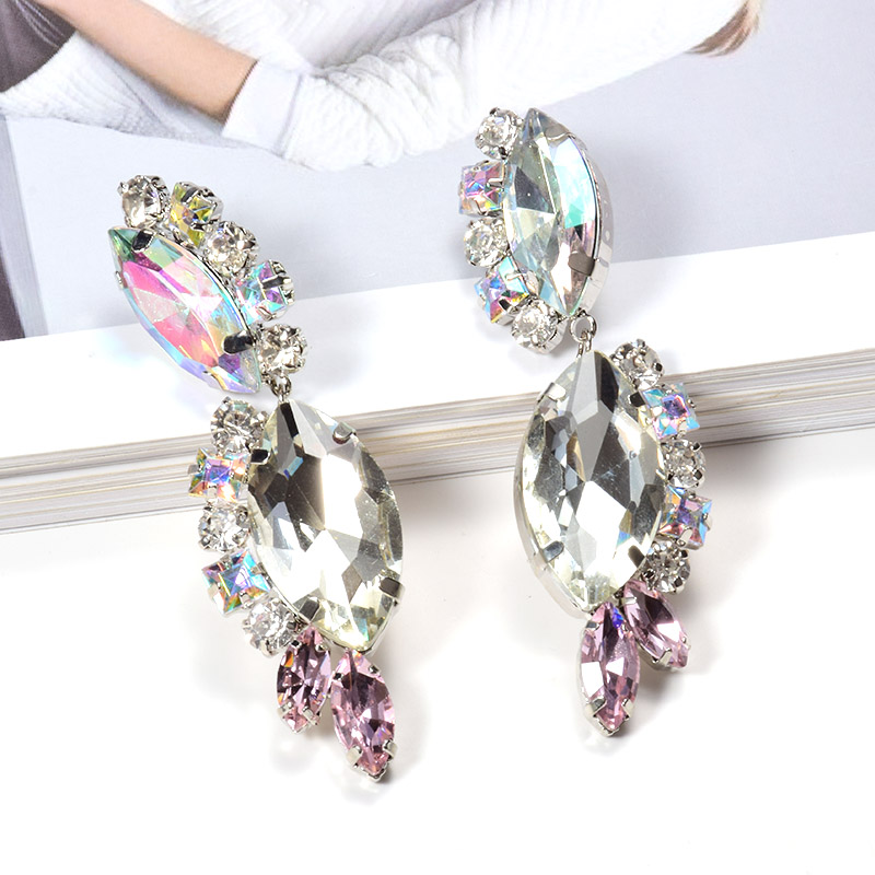 ZA New Fashion Fine Jewelry Dangle Crystals Drop Earrings Hanging Dainty Clear Set in Accessories Pendientes For Women